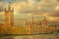 Картинка река, небо, башня, Темза, Лондон, Англия, часы