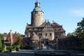 Картинка мост, замок, фонари, фонтан