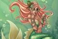 Картинка Harpyqueen, Amberly Berendson, девушка, хвост, жемчуг, волосы, пузырьки