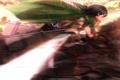 Картинка трава, девушка, оружие, конь, ветер, плащ, жест