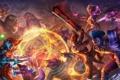 Картинка огонь, магия, меч, бой, горилла, битва, Strife