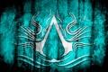 Картинка эмблема, assassins creed, голубой фон