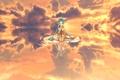 Картинка небо, вода, девушка, солнце, облака, закат, отражение