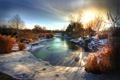 Картинка зима, деревья, озеро, Рассвет