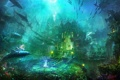 Картинка девушка, дельфин, огни, Атлантида, магия, Арт, подводный мир