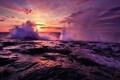 Картинка волны, небо, вода, солнце, облака, закат, брызги