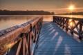 Картинка зима, мост, озеро, утро