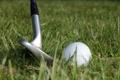 Картинка мяч, гольф, трава, клюшка, макро