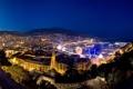 Картинка ночь, дома, яхты, порт, монако, горы.
