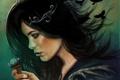 Картинка девушка, волосы, ключ, вороны, профиль, черные