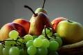 Картинка ягоды, яблоко, виноград, груша, фрукты, натюрморт