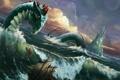 Картинка море, волны, шторм, корабль, монстр, чудовище, морской змей
