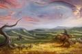Картинка существо, облака, всадник, трава, холмы, арт, дерево
