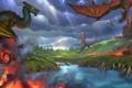 Картинка вода, река, замок, огонь, драконы, арт, нападение