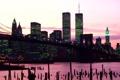 Картинка город, река, new york