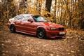 Картинка осень, лес, листья, BMW, красная, e46