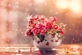 Картинка капли, гвоздики, чашка, лепестки, вода, макро, цветы
