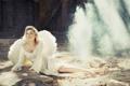 Картинка туман, Девушка, крылья, поза, ангел