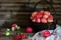 Картинка яблоки, натюрморт, корзинка