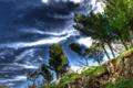 Картинка небо, облака, деревья, пейзаж, камни, обрыв