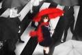 Картинка девушка, люди, дождь, зонт, аниме, шарф, арт