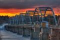 Картинка пейзаж, закат, мост, река