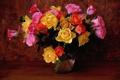 Картинка фон, розы, букет, ваза