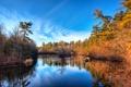 Картинка лес, осень, деревья, облака, небо, река