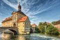Картинка деревья, мост, дом, река, Германия, Бамберг, фахверк
