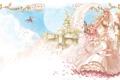 Картинка девушка, цветы, замок, дракон, букет, платье, эльфы