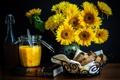 Картинка цветы, хлеб, книга, натюрморт, корзинка, джем