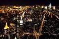 Картинка ночь, город, огни, здания, дороги, Нью-Йорк, небоскребы