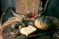 Картинка красное, вино, бокал, сыр, хлеб, орехи