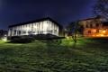 Картинка трава, звезды, пейзаж, ночь, дом, здание