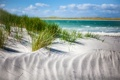 Картинка песок, море, трава, облака, дюны