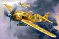 Картинка небо, рисунок, арт, истребители, пара, самолёты, WW2