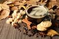 Картинка осень, листья, кофе, шарф, печенье, чашка, hot