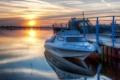 Картинка закат, пейзаж, лодка, озеро