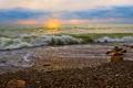 Картинка море, закат, прибой