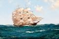 Картинка море, волны, парусник, Montague Dawson