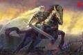 Картинка всадница, воин, арт, меч, девушка, конь