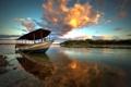 Картинка закат, облачно, небо, Баия, отражение, Рио-Сан-Франциско, лодка