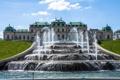 Картинка парк, Австрия, фонтан, дворец, Вена, Бельведер