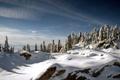 Картинка зима, лес, небо, снег, горы