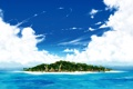 Картинка облака, домики, остров, океан