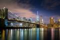 Картинка ночь, мост, город, огни, река, New York