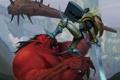 Картинка девушка, оружие, монстр, меч, щит, дубинка, Kingdoms of Amalur: Reckoning