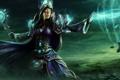 Картинка девушка, тучи, магия, долина, посох, WoW, World of Warcraft