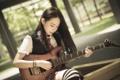 Картинка девушка, музыка, гитара, азиатка