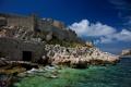 Картинка море, облака, камни, замок, стены, Франция, чайки